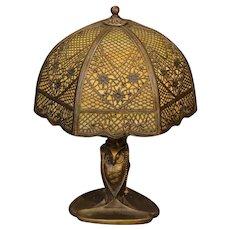 Wonderful Bradley & Hubbard Owl Sample Slag Glass Lamp