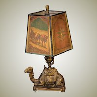 Camel Lamp w/ Pearline Cellulose Shade
