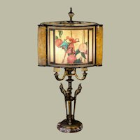 Eye-Popping Art Deco Parrot Lamp w/ Cellulose and Mica Pearlined Shade