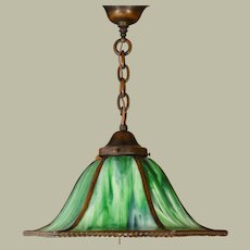 Handel Slag Glass Hanging Lamp