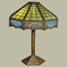 Bradley & Hubbard Arts & Crafts Murano Slag Glass Scenic Lamp