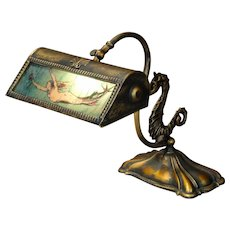 Mermaid Desk/ Piano Lamp w/ Seahorse Base & Chipped Ice Glass Shade