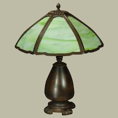 Large Classical Slag Glass Panel Lamp