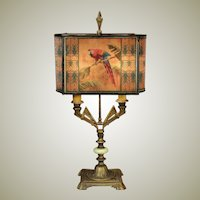 Large Amazing Art Deco Parrot Lamp w/ Pearline Cellulose Shade