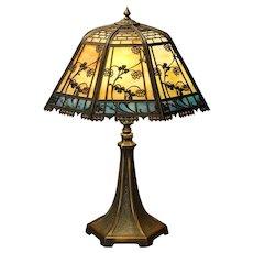 Lovely Double Panel Floral & Brickwork Slag Glass Lamp