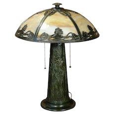 Stunning Art Nouveau Slag Glass Floral Cone Base Lamp