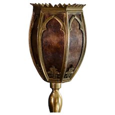 European Gothic Castle Fireplace Floor Lamp w/ Mica Shade