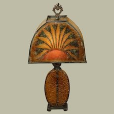 Art Deco Egyptian Revival Papyrus Mica Lamp