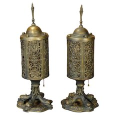 Large Gorgeous Pair Dolphin Foot Mica Lined Mantle Lamps