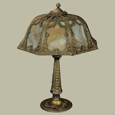 Gorgeous Rose Lamp w/ Fiery Slag Glass
