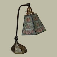 Mackintosh Arts & Crafts Desk Lamp w/ Pearlined Rose Shade