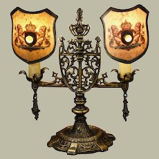 Medieval Gothic Shelf Bouillotte Lamp w/ Jeweled Lion Shades