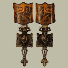 Pair Medieval Gothic Sconces w/ Mica Shades