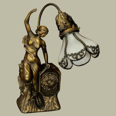 Art Nouveau/ Art Deco Figural Lamp w/ Opaline Petal Glass Shade