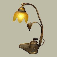 Beautiful Inkwell Desk Lamp w/ Frosted Glass Petal Shade