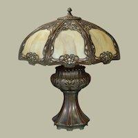 Large Outstanding Miller Art Nouveau Slag Glass Panel Lamp