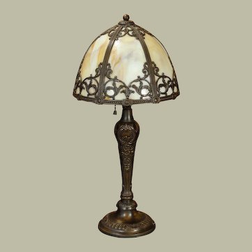 Lovely Ornate Slag Glass Telephone Lamp