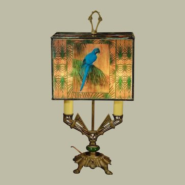Fabulous Art Deco Blue Parrot Pearline Shade Bouliette Lamp