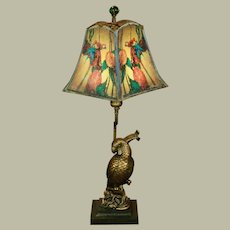 Beautiful Art Deco Parrot Lamp w/ Cellulose Pearlined Shade