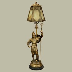 Intricate Saracen Warrior Figural Lamp w/ Slag Glass Shade