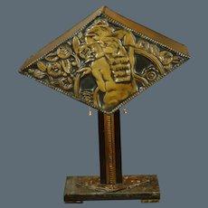Art Deco Craftsman Made Copper Embossed Lamp