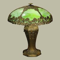 Large Bradley & Hubbard Art Nouveau Dogwood Slag Glass Panel Lamp