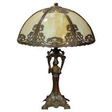 Gorgeous Gothic Art Nouveau Figural Lamp w/ Slag Glass Shade