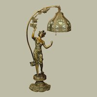 Art Nouveau Lady Figural Lamp w/ Intricate Hanging shade