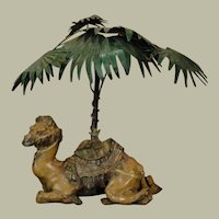 Cold Painted Camel Inkwell Desk Lamp w/ Palm Tree
