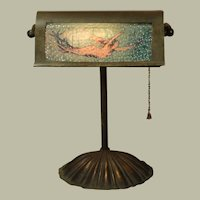 Brass Desk Lamp w/ Mermaid Behind Bubble Glass