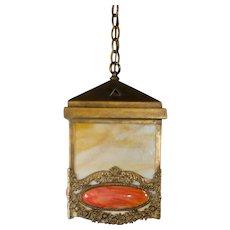 Large Early Art Nouveau Slag Glass Hanging Fixture