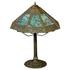 Elegant 8 Panel Slag Glass Lamp