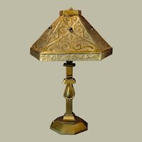 Large Arts & Crafts Pierced Brass Lamp w/ Mica Lined Shade