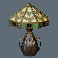 Bradley & Hubbard Gothic Arts & Crafts 16 Panel Slag Glass Lamp