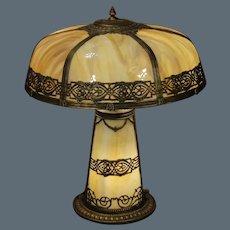 Matching Slag Glass Lighted Base Lamp