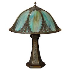 Large Slag Glass Lamp w/ Tower Base