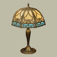 Signed Double Slag Glass Lamp