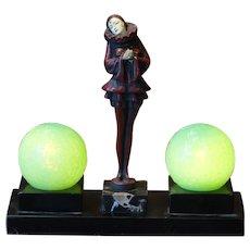 Rare JB Hirsch Pierrot Lamp w/ Miniature Opalescent Globes