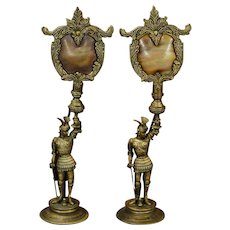 Pair Bronze Knights Mantle Lamps w/ Slag Glass Shades