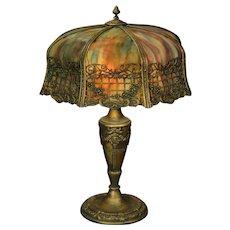 Large Double Bent Slag Glass Trellis Lamp
