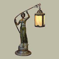 Art Nouveau Figural Lamp w/ Hanging Slag Glass Lantern
