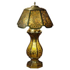 Large Cut Brass Mica Lined Lighted Base Lamp