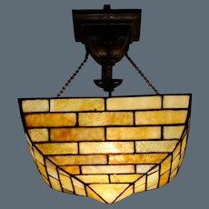 Handel Brickwork Slag Glass Hanging Lamp