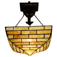 Handel Brickwork Slag Glass Hanging Lamp