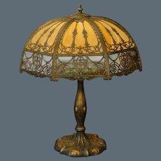 "Large 27"" Empire Double Slag Glass Overlay Lamp"
