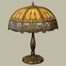 "Large 27"" Empire Double Slag Glass Overlay Lamp"