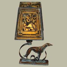 Art Deco Wolfhound/Borsoi Lamp w/ Gazelle Mica Shade