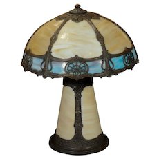 Slag Glass Lighted Base Lamp w/ Double Glass Shade