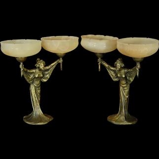 Pair Large Art Nouveau Figural Lamps w/ Alabaster Shades