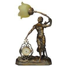 Art Nouveau Figural Flower Girl Clock Lamp